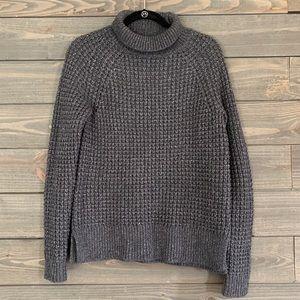 Gray Turtleneck Sweater with Metallic Threading